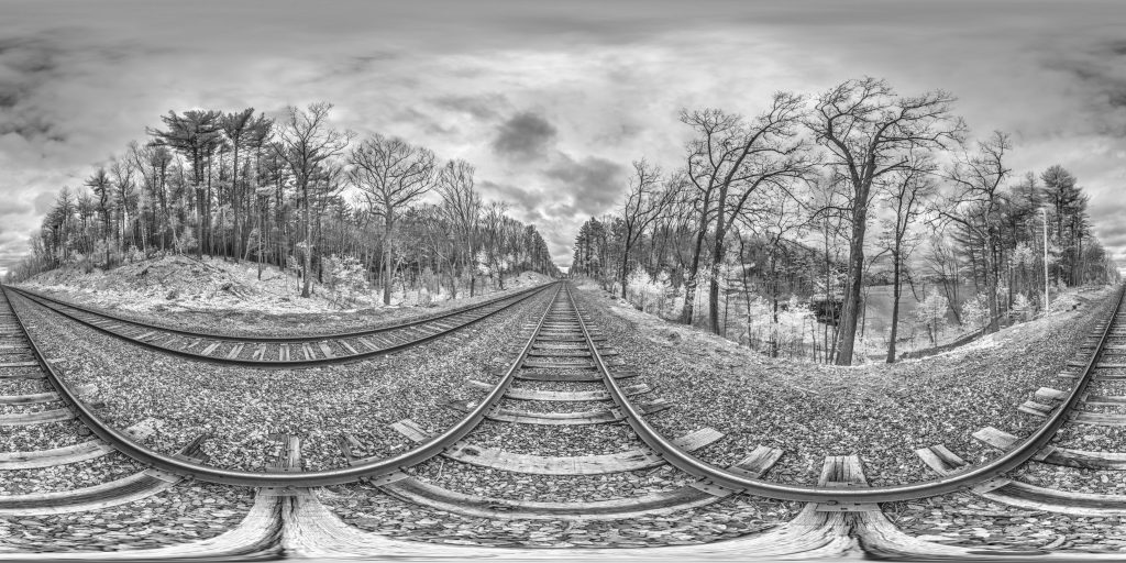 infrared conversion photo by Railroad At Walden Pond Panorama