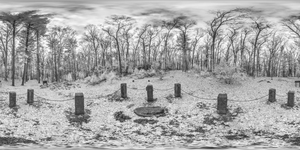 infrared conversion photo by Thoreaus Cabin Walden Pond Panorama